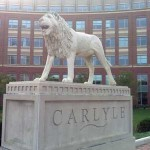 Lion statue at entrance of Carlyle District office complex