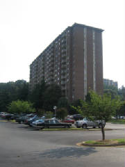Hunting Creek Club high-rise with parking lots