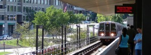 train arriving at King Street Metro