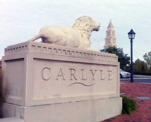 Carlyle lion statue with Masonic Temple in background