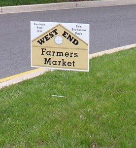 Sign announcing West End Farmers' Market
