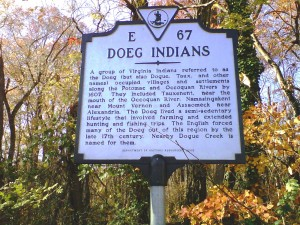 Doeg Indians Marker at the pull off area along VA 235