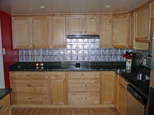 counters and cabinets