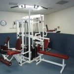 The gym offers a variety of work out equipment