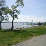 The Potomac River juts out to the tip of Founders Park