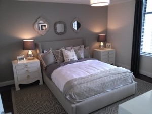 A furnished classic bedroom format