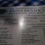 A snapshot of the menu at the Fish Market