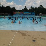 The wave pool is filled with people
