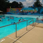 The wave pool gets to 8ft deep!