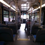 The inside of a Fairfax Connector bus