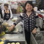Julie Nesbitt checks out at Lotte