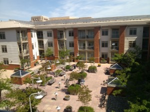 Here is a view of the courtyard at the Royalton