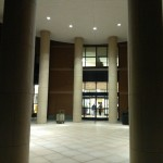 Outside Beatley library during the evening