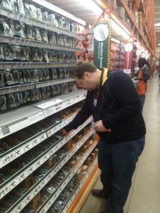 Will Nesbitt examines some tools at Home Depot