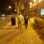 Husband and wife walk in Del Ray