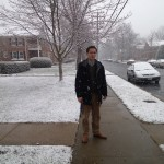 Stuart Nesbitt stands outside for a picture during a snowy day in Belle View