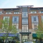mid-rise brick condominium