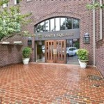 garden-style brick condominium