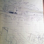 A sketch just past the Chart House Restaurant, on the waterfront with National Harbor in the distance
