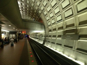 The Rosslyn Metro station is separated by multiple levels