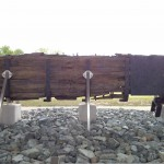 A military rudder on display