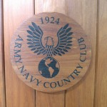 Wood working on a Army Navy Country Club podium