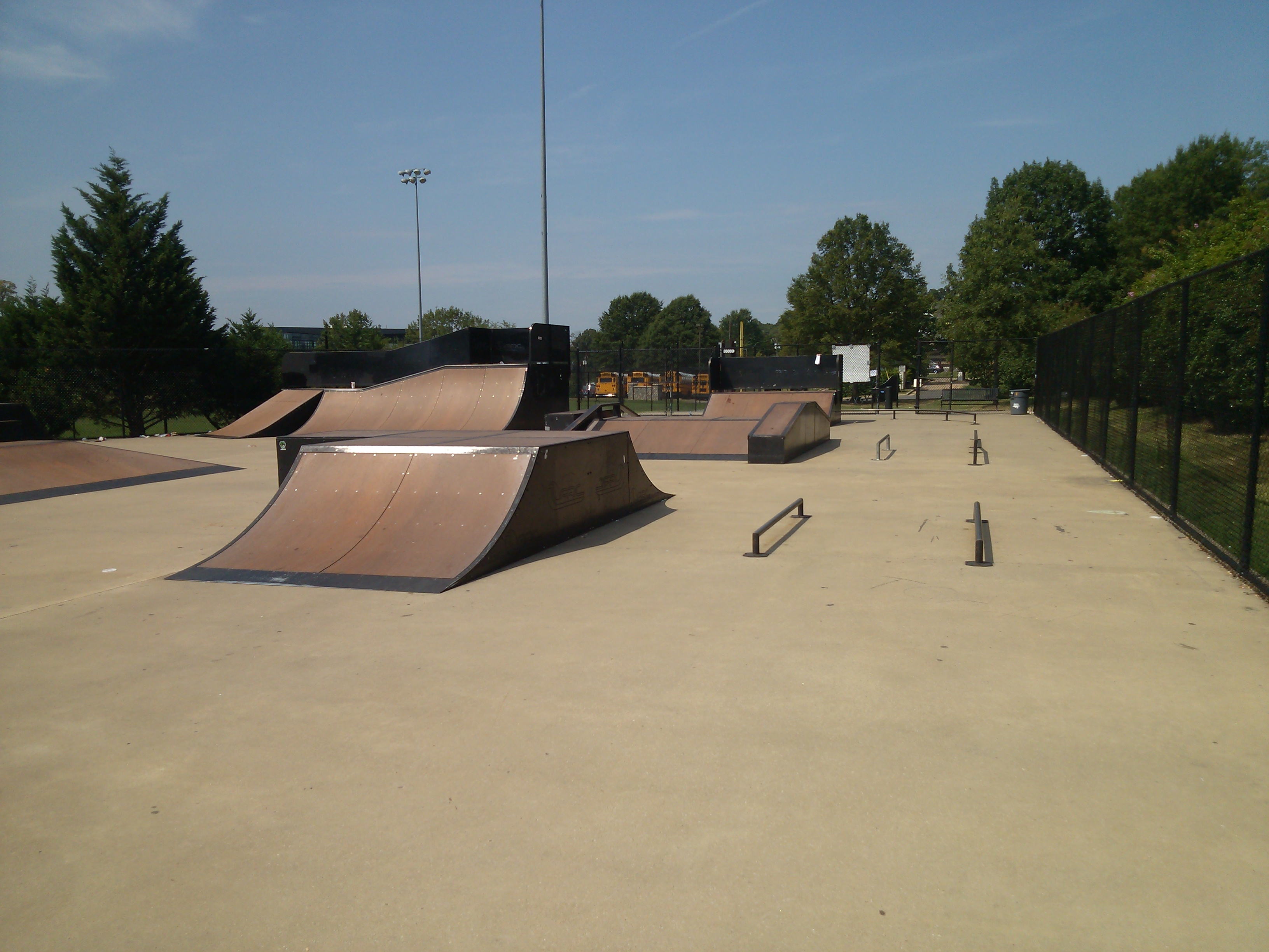 A skate park in Alexandria in the summer