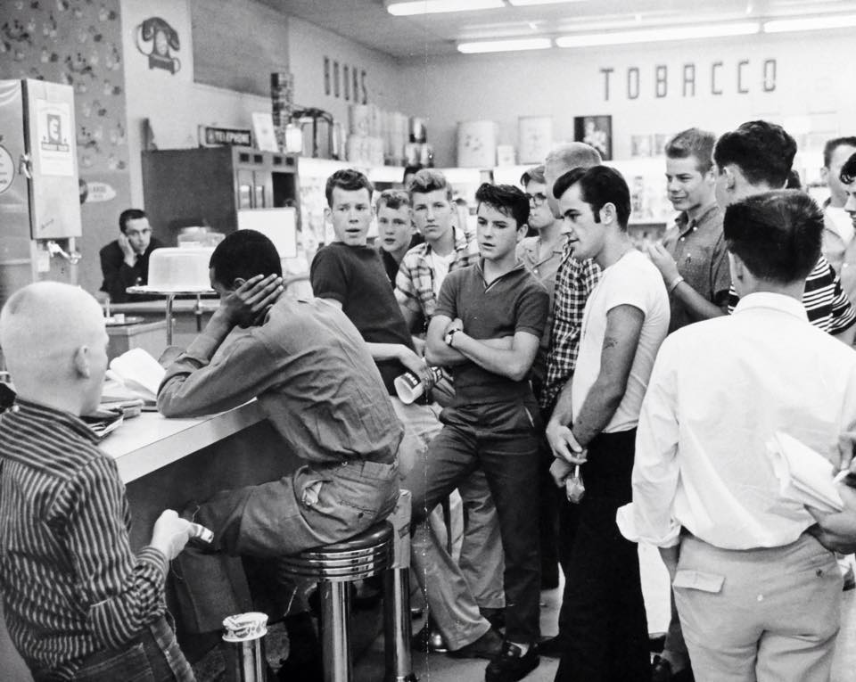 Harassment during a civil rights sit-in at the Cherrydale Drug Fair in Arlington, VA June 10, 1960