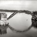 What did the Key Bridge look like under construction?
