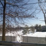 Golf coarse blanketed in snow