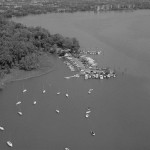 Aerial view of Belle Haven Marina / Potomac River, in 1980
