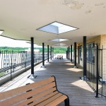 The roof deck with benches