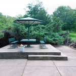 Sitting area on a concrete pad