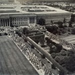 Pentagon River Entrance, shown here ca. 1958 during a fire drill...