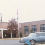 old Pine Ridge Elementary School on Woodburn Rd, circa 1981, before it closed and the building became a police station.1980