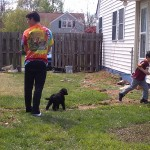Backyard with Stuart, Grover, and Sean