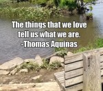 The things that we love tell us what we are. -Thomas Aquinas
