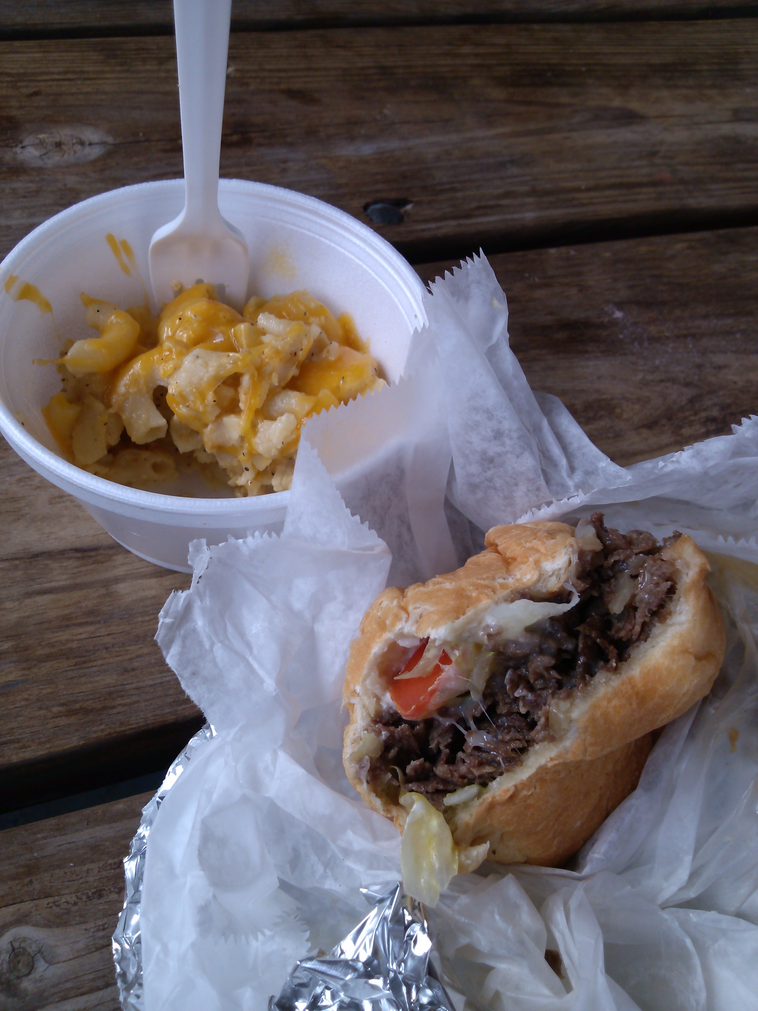 Steak and cheese and mac and cheese