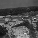 George Mason University, Fairfax campus, ca. 1974, aerial photograph looking north