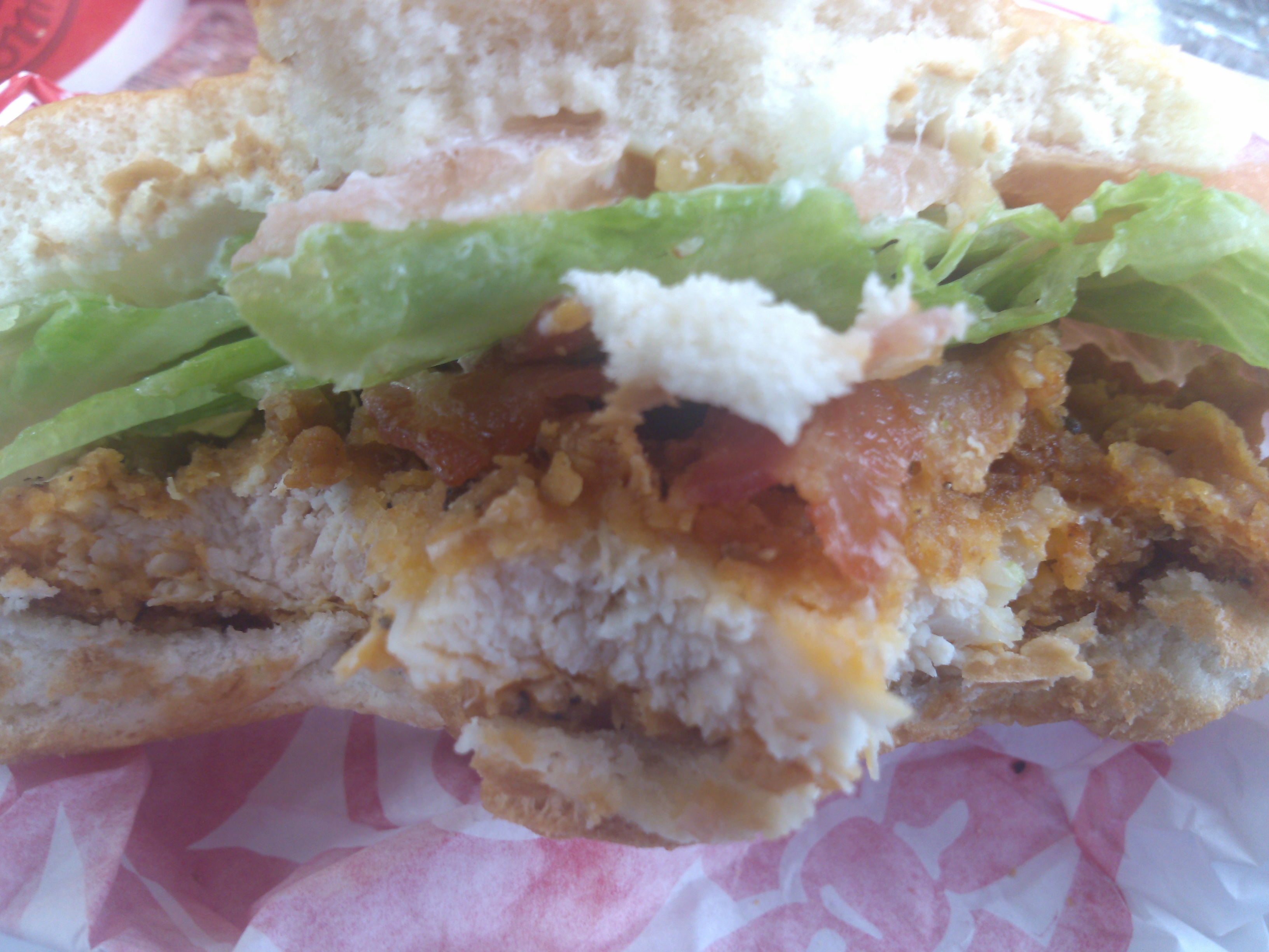 spicy chicken sandwich with bacon