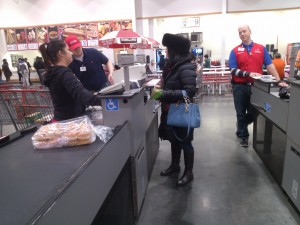 Julie Nesbitt checks out at Costco