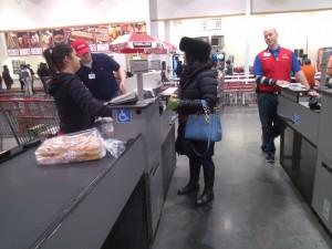 Julie Nesbitt checks out at Costco