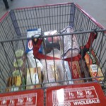 Costco grocery cart with food in it