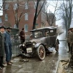 Auto Wreck in Washington D.C, in 1921. Colorized