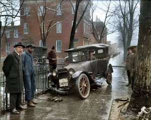 Auto Wreck in Washington D.C, 1921.'''. Colorized