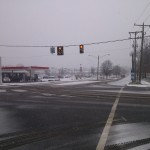Belle View Exxon gas station during snow