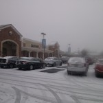 Belle View Shopping Center during winter snow