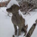 dog statue in winter