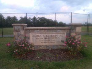 Empty baseball field titled James T. Luckett Jr. Memorial Field